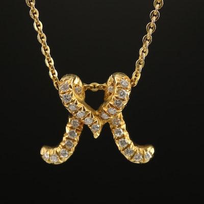 "18K Diamond ""M"" Initial Pendant on 14K Necklace"