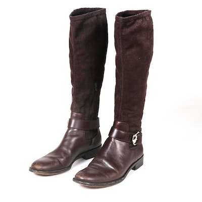 Gucci Cocoa Brown Leather and Suede Knee High Boots