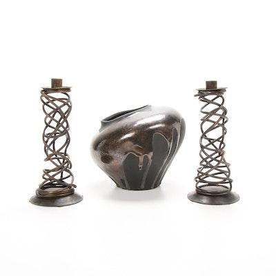 Haeger Pottery Drip Glazed Asymmetrical Ceramic Bowl and Bronze Candlesticks