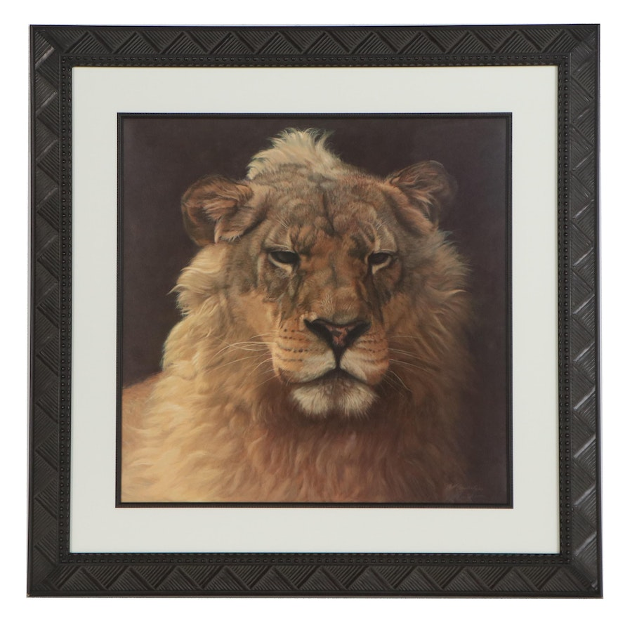 Jeff Gandert Offset Lithograph of a Lion, Late 20th Century
