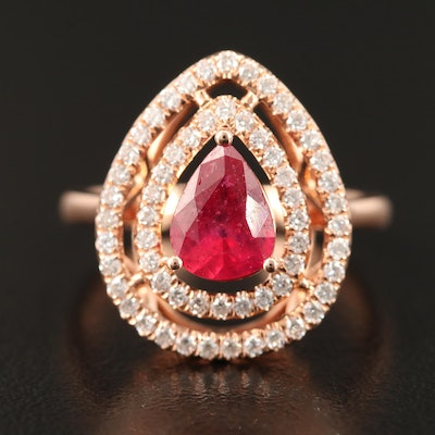 14K Rose Corundum and Diamond Ring