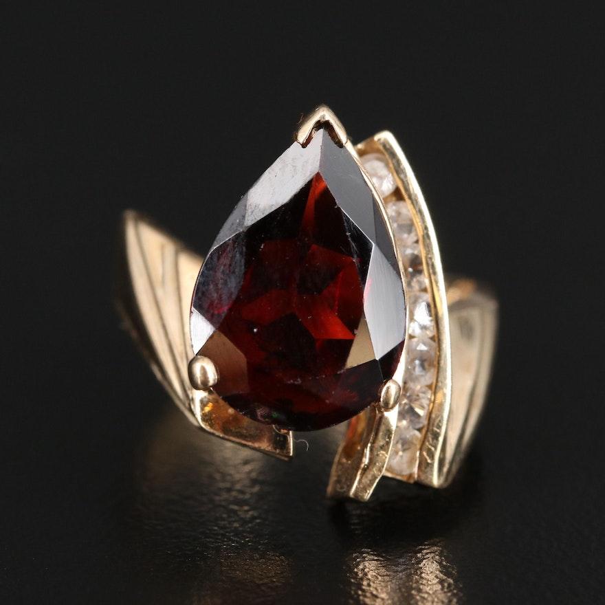 10K Garnet and Topaz Teardrop Ring