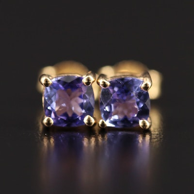 9K Tanzanite Solitaire Stud Earrings