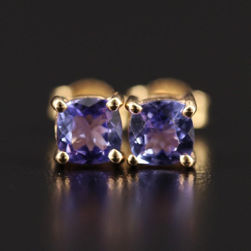 9K Tanzanite Solitaire Stud Earrings