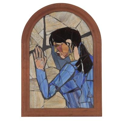 Sharon Serbin Art Glass Slag Glass Panel Portrait of a Woman