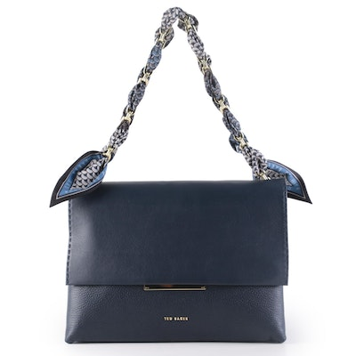 Ted Baker Navy Leather Two Way Scarf-Accented Chain Link Shoulder Bag