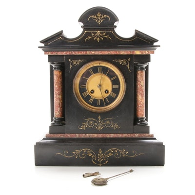 Fritz Marti French Slate and Marble Mantel Clock, Late 19th/Early 20th Century