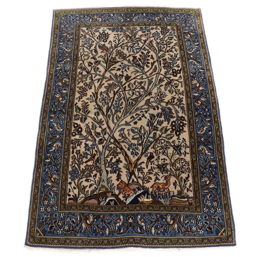 3'6 x 5'5 Hand-Knotted Persian Qum Silk Blend Pictorial Rug, 1970s