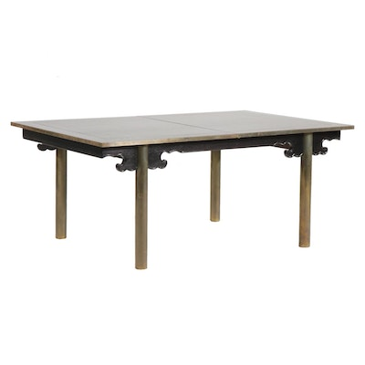 Chinese Style Walnut and Lacquered Wood Dining Table