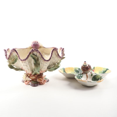 "Fitz and Floyd ""Oceana"" Centerpiece Bowl and ""Woodland Partridge"" Server"