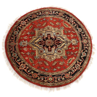 5'3 x 5'4 Hand-Knotted Indo-Persian Heriz Serapi Round Rug, 2010s