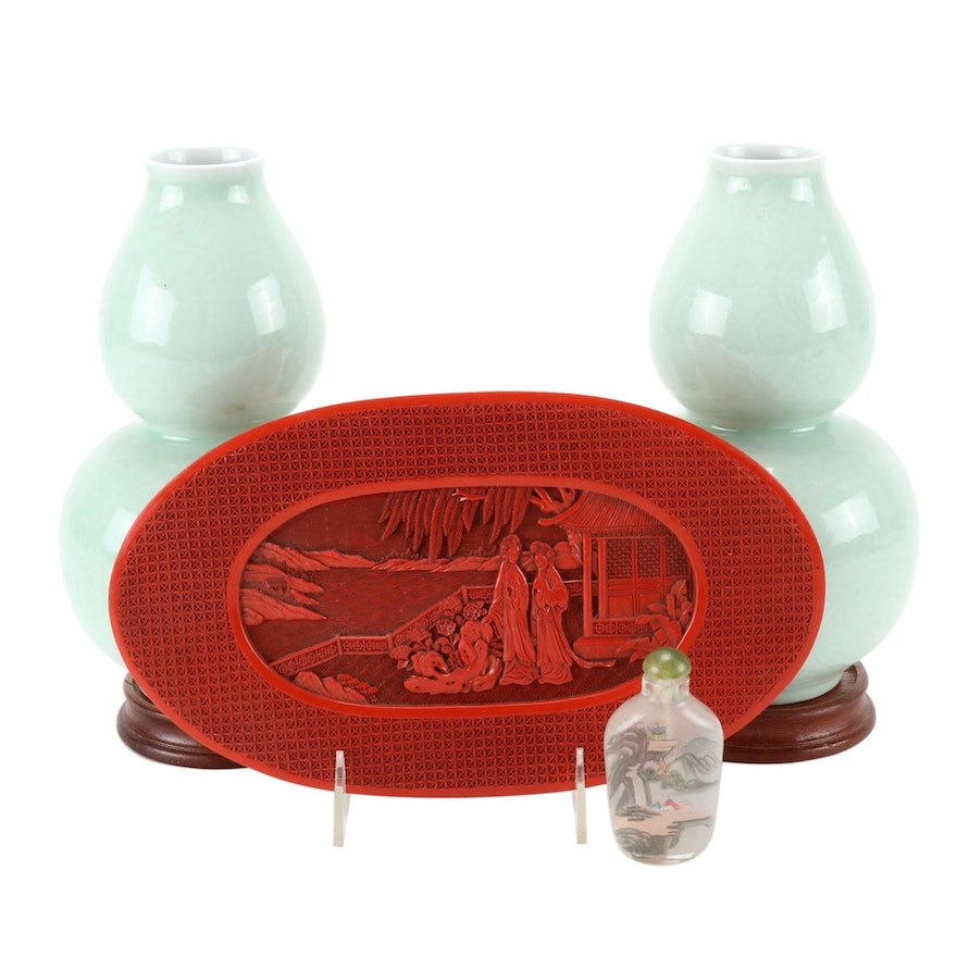 Chinese Celadon Vases, Faux Cinnabar Tray and Reverse Painted Snuff Bottle