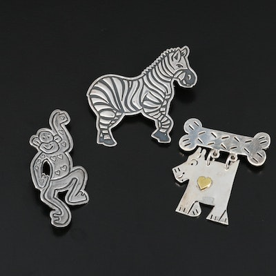 Mexican Sterling Silver Zebra, Monkey and Dog Brooches