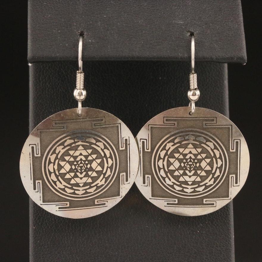 Sri Yantra Motif Dangle Earrings