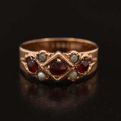 Victorian 10K Garnet and Pearl Band