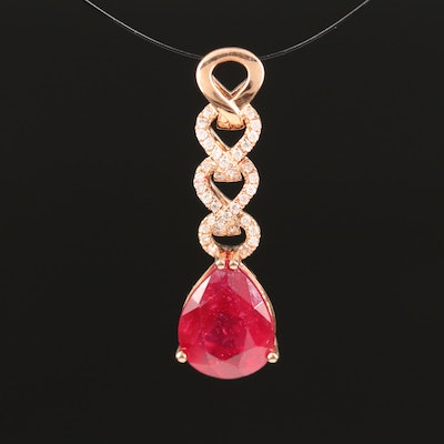 14K Corundum and Diamond Drop Pendant