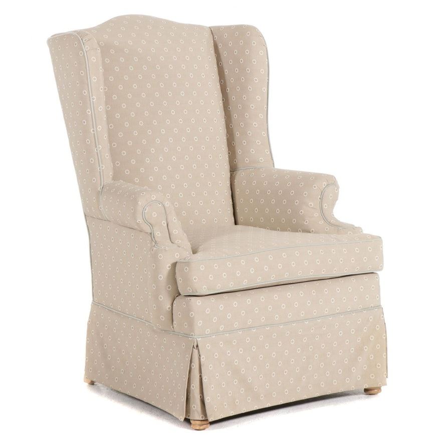 Queen Anne Style Upholstered Wing Back Armchair, Late 20th Century