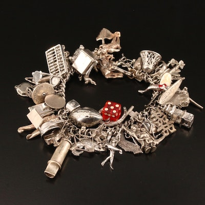 Vintage Sterling Charm Bracelet with Enamel Accented Charms