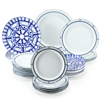 "Dansk Porcelain ""Arabesque"" Platters and ""Fredriksborg"" Dinnerware, Late 20th C."