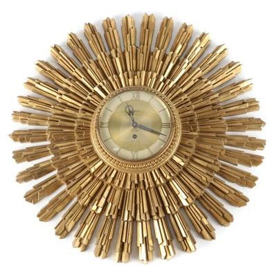 Syroco Mid Century Starburst Wall Clock, Mid-20th Century