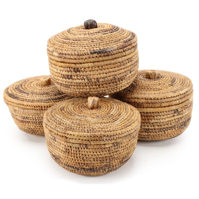West African Handwoven Grass Lidded Baskets