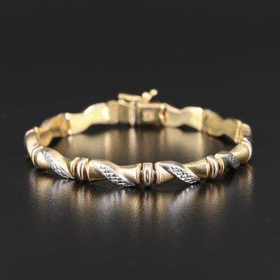 14K Diamond Cut Bamboo Motif Link Bracelet