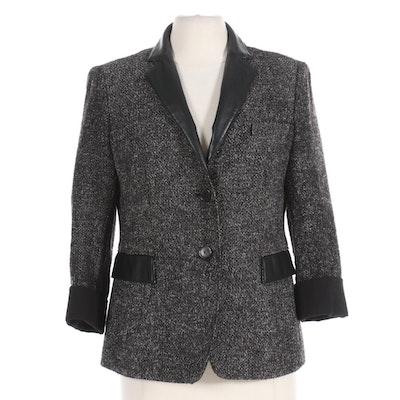 Akris Punto Wool Blend Blazer Jacket with Black Faux Leather Trim
