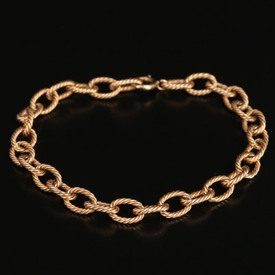 14K Rope Cable Chain Bracelet