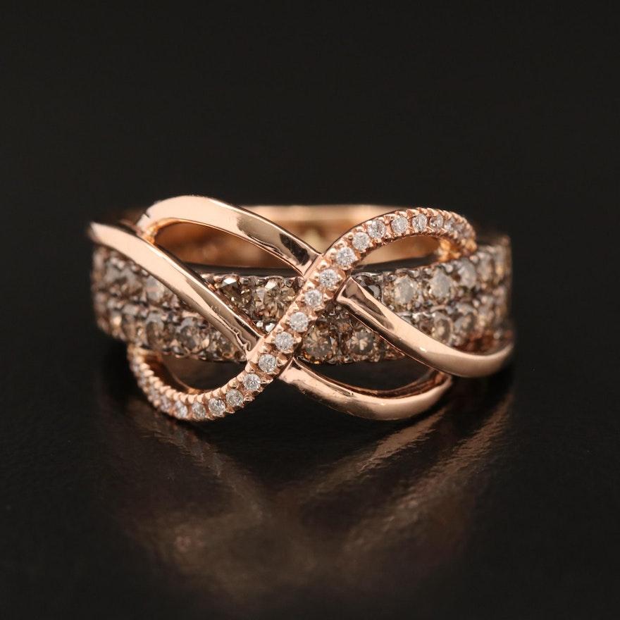 Le Vian 14K Rose Gold Diamond Cross-Over Ring