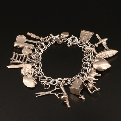 Vintage Sterling Silver Charm Bracelet Including Cross and Heart Charms