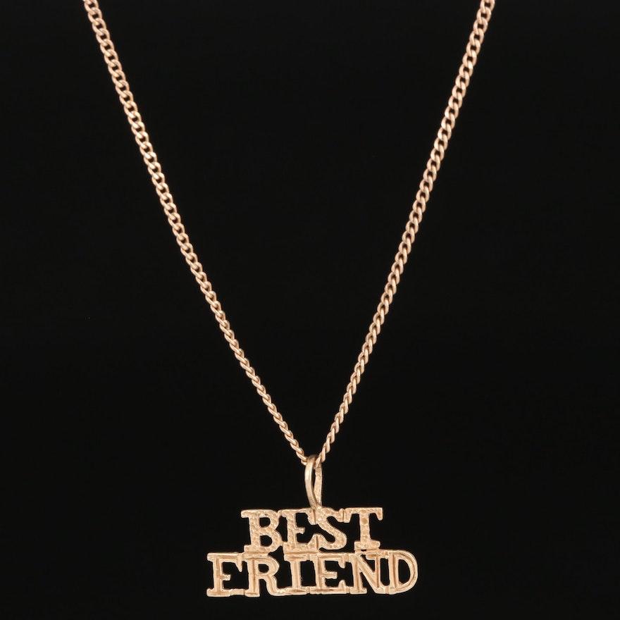"14K ""Best Friend"" Pendant on 10K Necklace"