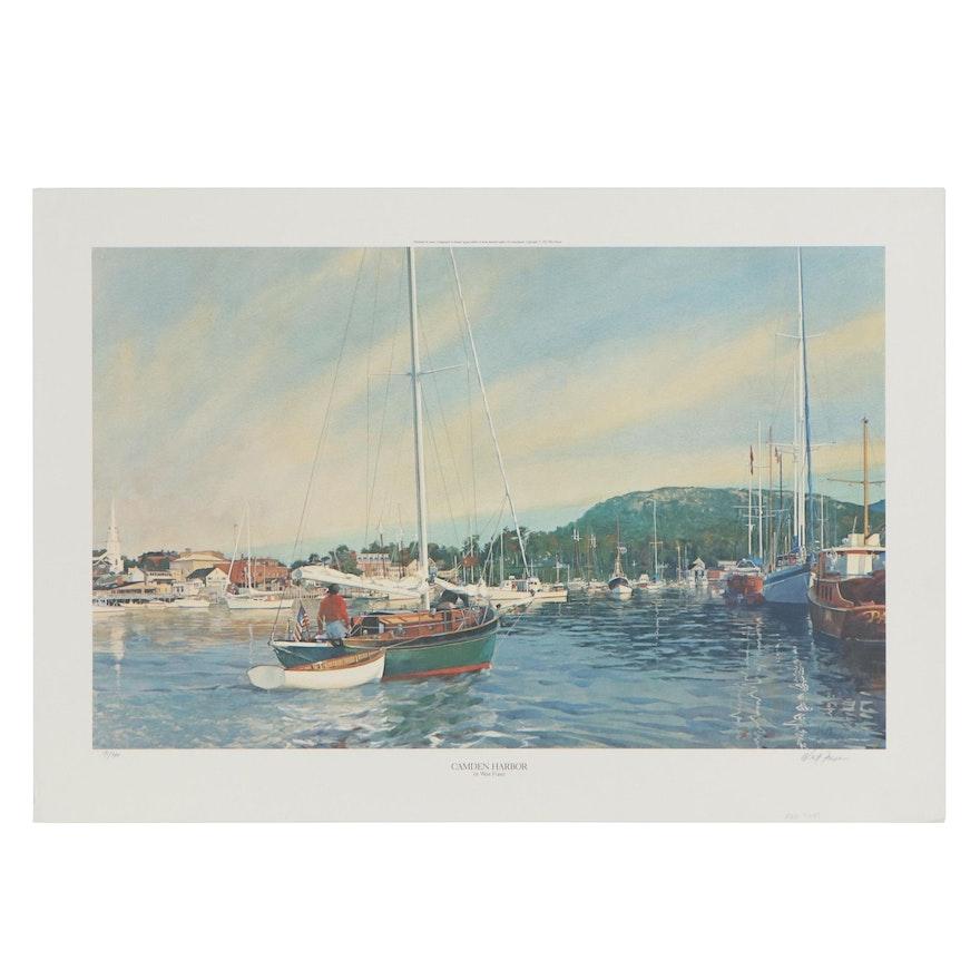 """West Fraser Offset Lithograph """"Camden Harbor,"""" 1987"""
