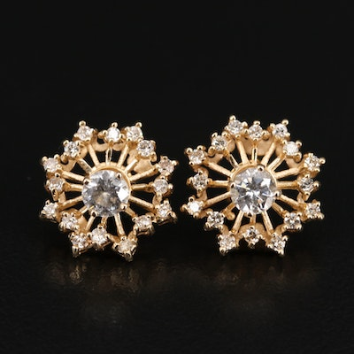 14K 1.21 CTW Diamond Stud Earrings with Jackets