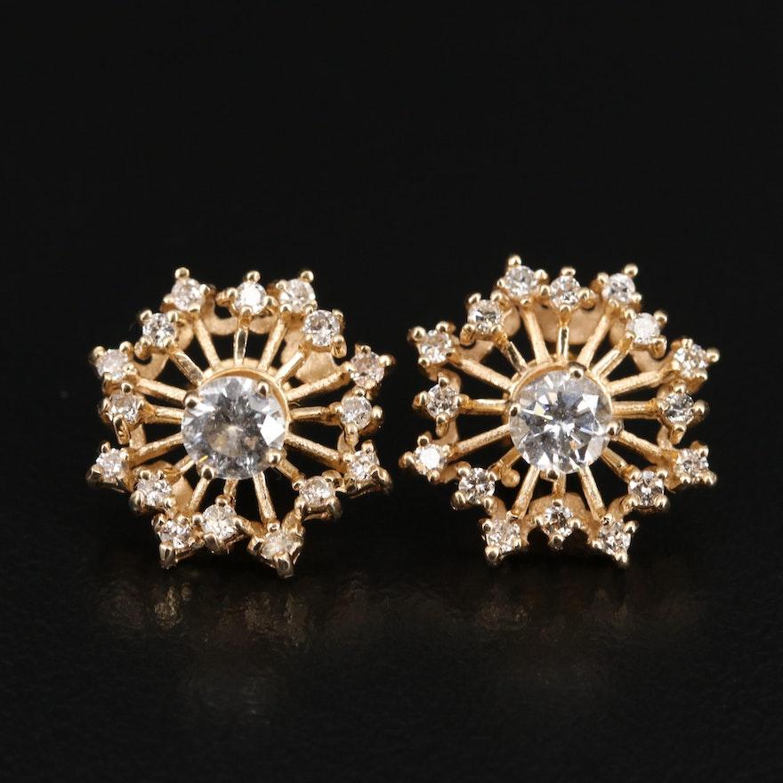14K 1.21 CTW Diamond Stud Earrings with Jackets