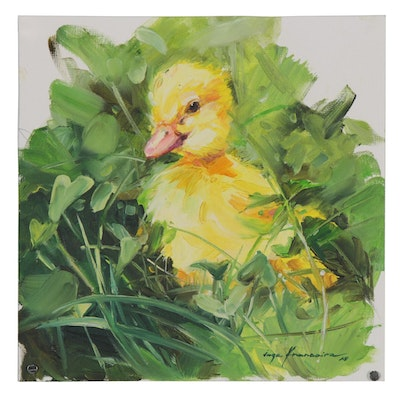Inga Khanarina Oil Painting of a Duckling, 2020