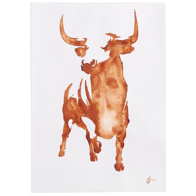 Alyona Glushchenko Watercolor Painting of a Bull, 2020