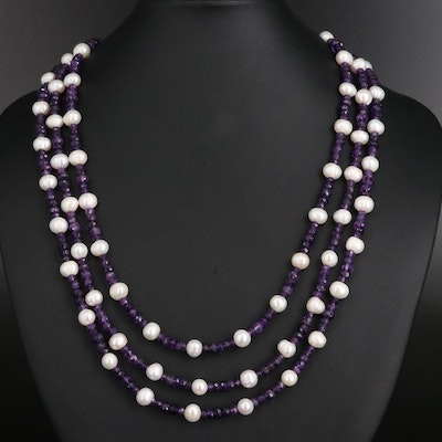 Pearl, Amethyst and Cubic Zirconia Multi-Strand Necklace