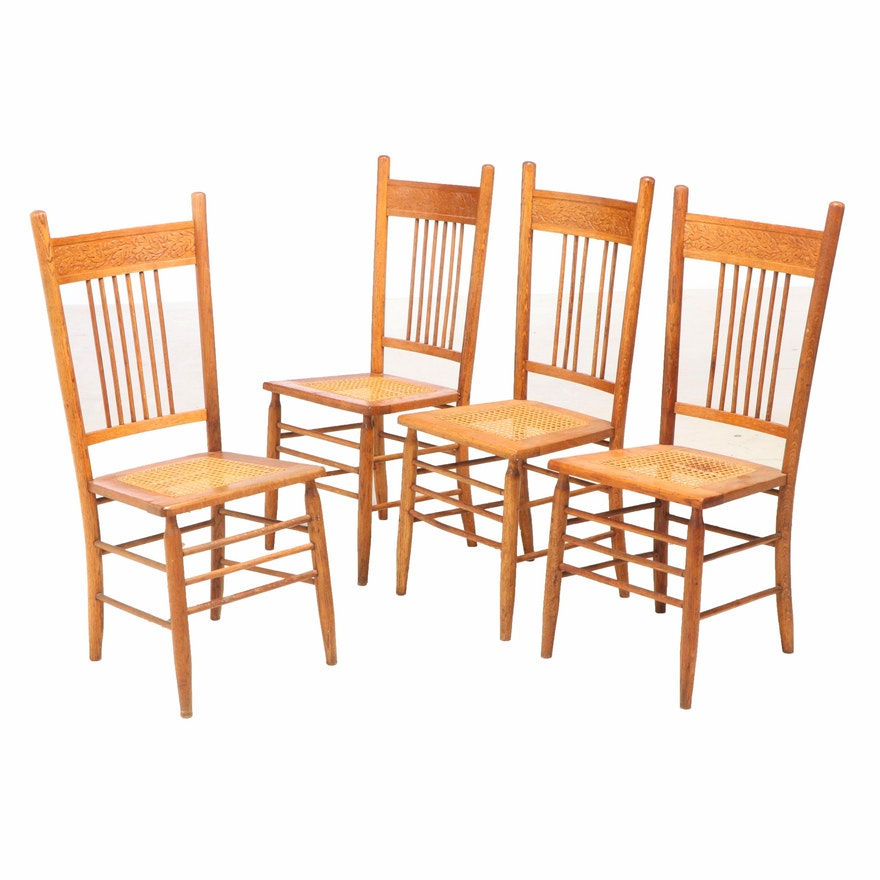 Four Late Victorian Oak Pressed and Rod-Back Side Chairs, circa 1900