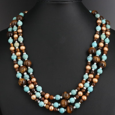 Tiger's Eye, Magnesite and Pearl Multi-Strand Necklace with Sterling Silver