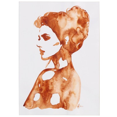 Alyona Glushchenko Figural Watercolor Painting, 2020