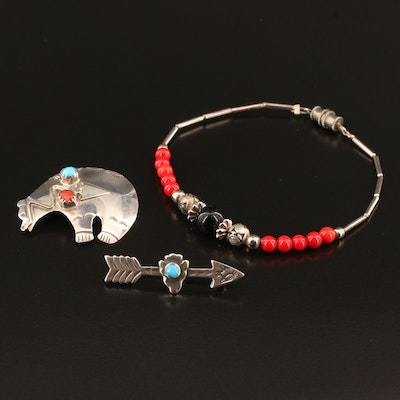 Southwestern Sterling Bracelet and Brooches with Coral and Turquoise Accents