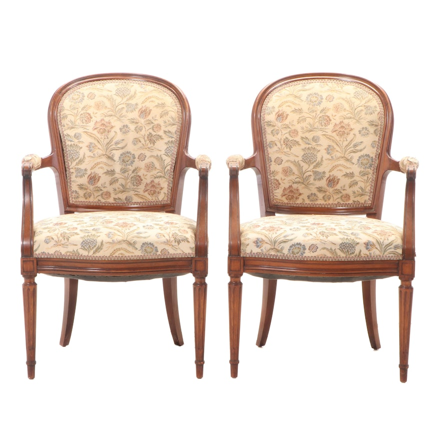 Pair of Louis XVI Style Beech Fauteuils, 20th Century