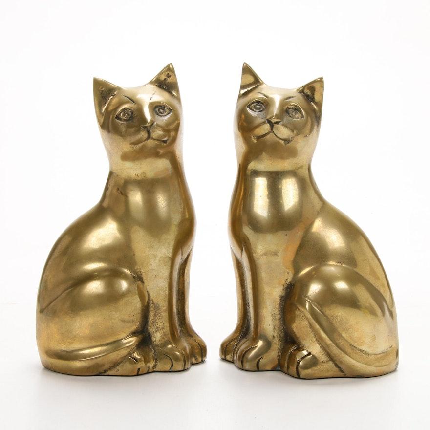 Korean Brass Seated Cat Figurines, Pair