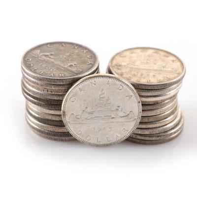 Twenty-Four Canadian Silver Dollars, 1955-1967