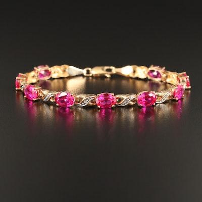10K Ruby and Diamond Crossover Bracelet