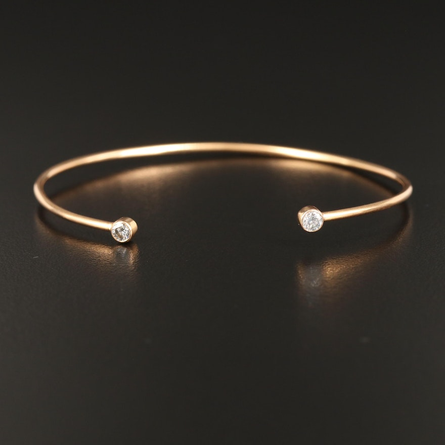 18K Wire Cuff with Diamond Ends