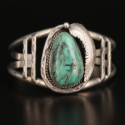 Artist Signed Southwestern Sterling Silver Turquoise Cuff