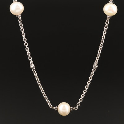 Lagos Sterling Silver Pearl Station Necklace