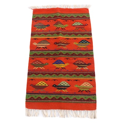 3'8 x 1'11 Handwoven Mexican Oaxacan Wool Accent Rug with Turtle Motif