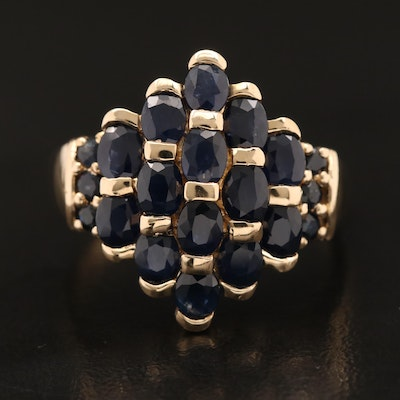 10K Sapphire Cluster Ring